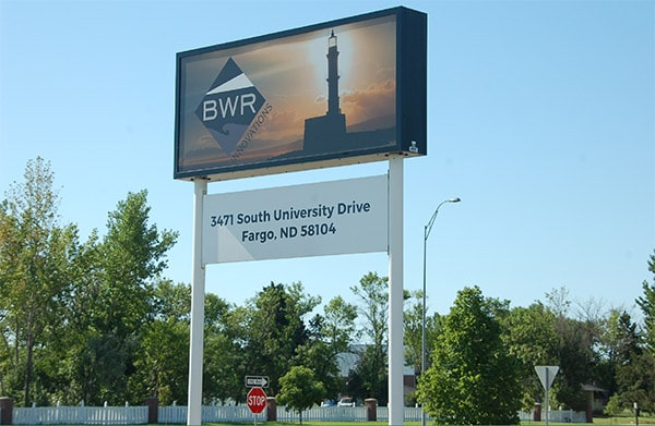 Blue Water Resolute (BWR) Innovations sign outside their Fargo office