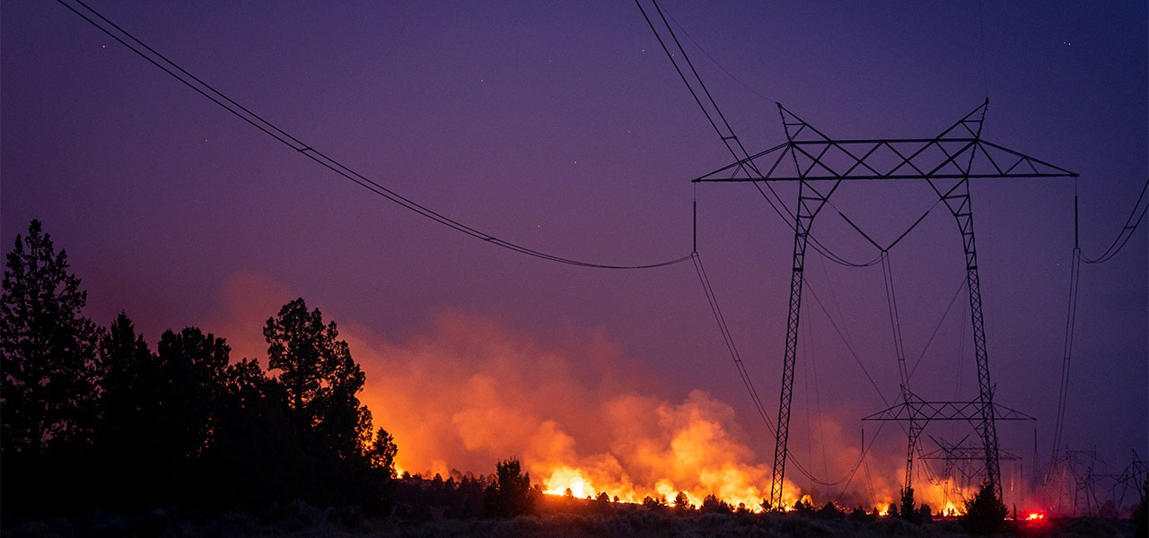 Wildfire causing power outages